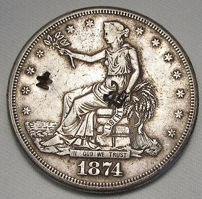 1874-S C/S Trade Dollar CH VF+ Coin Chinese Chop Marks AE138