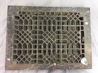 Antique Cast Iron Heat Grate Floor Vent Register Vtg Honeycomb Old 14x10 19-17B