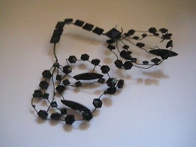 Victorian Antique  jet black mourning glass wirework piece for hair or clothes