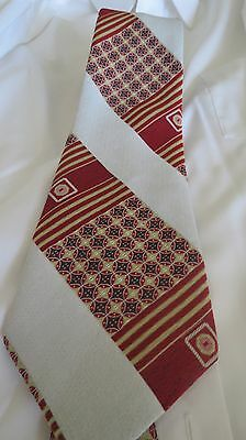 VTG Polyester Wide 1970s Necktie.  Cigar Bands. Gold Red White. Blue.