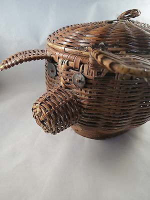 Vintage  Woven Lacquered Wicker Bamboo Pig Basket with Lid EEUC