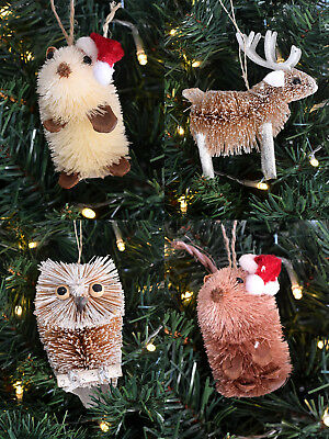 Gisela Graham Bristle Animal Christmas Tree Decoration Rustic Reindeer Owl Mouse