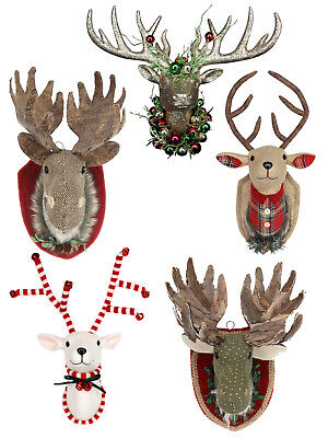 Gisela Graham Fabric Moose Stag Christmas Reindeer Hanging Head Wall Plaque