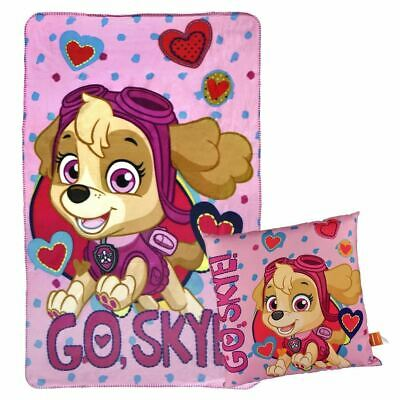 Paw Patrol Skye Polar Fleece Blanket & Cushion Set for Children - Pink