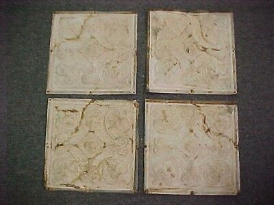 4 Antique Tin Vintage Ceiling Tiles Reclaimed Salvage Repurpose Art Work 12 x 12