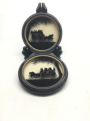 Vintage Pair Of C. & A. Richards Framed Silhouettes # 319-320 Stagecoach