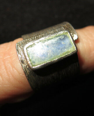 Vintage wedding band Style .925 Silver Ware Ring w/Ancient Roman Glass Stone
