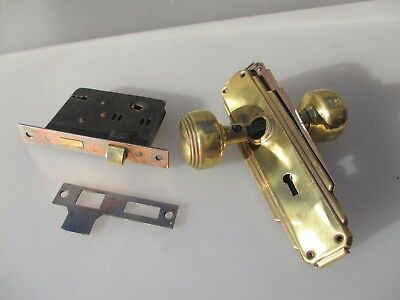 Vintage Brass Door Knobs Handles Art Deco Architectural Antique Old Reeded Lock