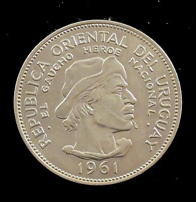 1961 Brilliant Uncirculated (BU) Uruguay Silver 10 Peso - ur3