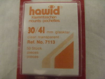 250 (5x50) HAWID 30/41MM CLEAR STAMP MOUNTS -1970 COMMS - SUPPLIES