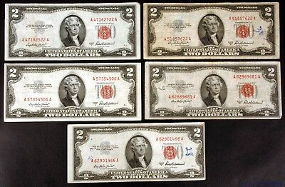 Lot of 5 Circluated 1953-A $2 United States Legal Tender Notes Fr #1510 - pa104