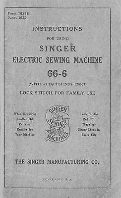 Manual for Singer Sewing Machine No. 66-6