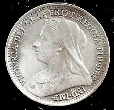 1900 UNC Details (cleaned) Great Britain Silver Three Pence - uk43
