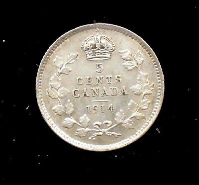 1914 About Uncirculated (AU) Canada Silver 5 Cent - cc114