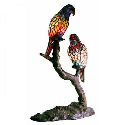 Exotic Birds Accent Lamp Tiffany Style Stained Glass Hand-Cut Copper Foil