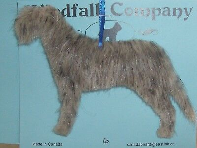 Grey Brindle Irish Wolfhound Dog Soft Plush Christmas Canine Ornament # 6 by WC