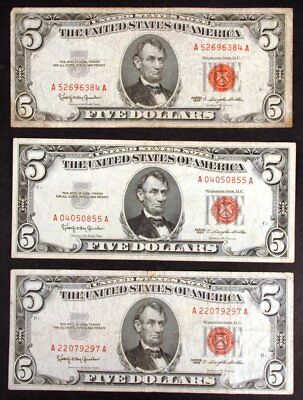 Lot of 3 Circulated 1963 $5 United States Legal Tender Red Seal Notes