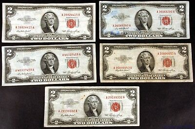 Lot of 5 Circluated 1953 $2 United States Legal Tender Notes Fr #1509 - pa103