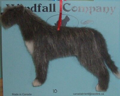 Grey White Irish Wolfhound Dog Soft Plush Christmas Canine Ornament # 10 by WC