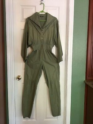 Vtg 70's 80's Jumpsuit One Piece Elastic Waist Snap Front Size M Green USA
