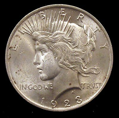 1923 (P) Brilliant Uncirculated (BU) Peace Silver Dollar - cp15