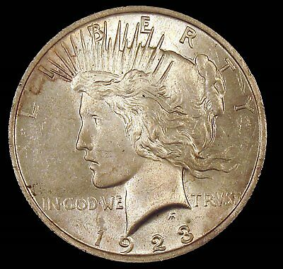 1923 (P) Brilliant Uncirculated (BU) Peace Silver Dollar - cp3