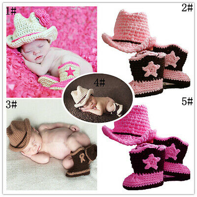 Newborn Baby Boys Girls Handmade Crochet Knitted Photography Props Cowboy Outfit