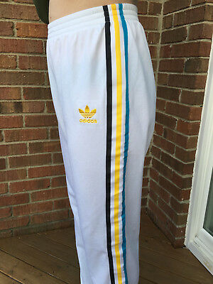 Vtg ADIDAS | White | TRACK PANTS | TREFOIL | Flannel Lined | Basketball | Sz XL