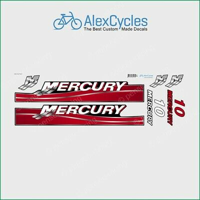 MERCURY Marine 10 HP Outboadrs Motor Red Laminated Decals Stickers Kit Set Boat