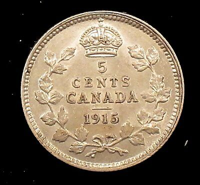 1915 About Uncirculated Details (cleaned) Canada Silver 5 Cents - cd88