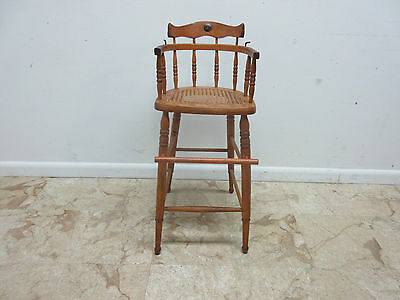 Antique Tiger Oak Bent Wood High Chair Stool Chair Childs Doll