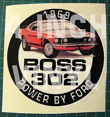 "Vintage 1969 Mustang Boss 302 Vinyl Sticker-Decal 4"" -  Power By Ford-Muscle Car"