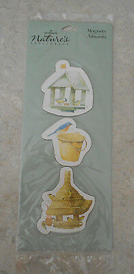 Marjolein Bastin 3 Magnet Package NEW birds pail houses NIP SIP