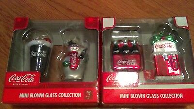 LOT 4 COCA COLA Mini Blown Glass Ornaments NIB vending mach, snowman, cup, 6 pk