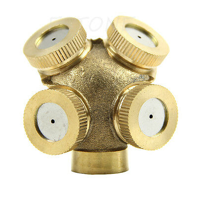 1/5PCS 4 Holes Adjustable Brass Spray Misting Nozzle Sprinklers Irrigation New