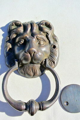 "LION head heavy front Door Knocker SOLID BRASS vintage antique style house 7"" B"