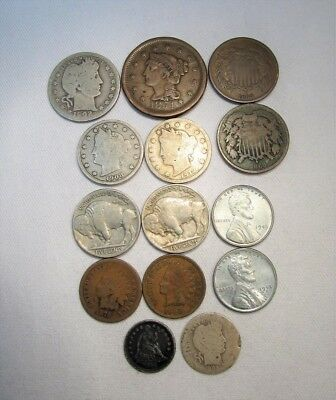 Vintage US Coin Lot 14pc Large Steel Shield Liberty Silver Barber C647