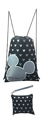 Disney Mickey Mouse Glow in the Dark Drawstring Backpack with Bonus Wristlet