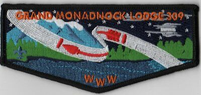 OA Lodge # 309 Grand Monadnock S-7 Blk Bdr; Two Waves; Red Letters
