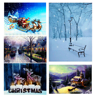 Christmas Wall Hanging LED Light Up Snow Villa Canvas Pictures Print w/ Frame