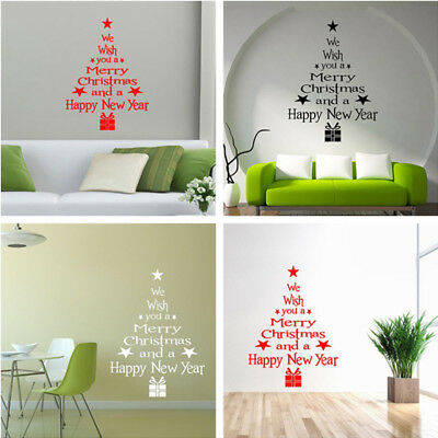 Merry Christmas Newyear Tree Wall Stickers Vinyl Decal Window Removable Decor CU