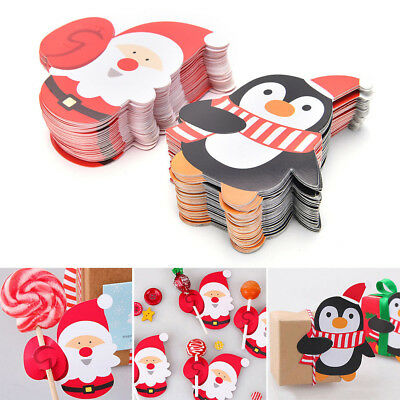 50 pcs Penguin Santa Claus Christmas Candy Lollipop Decoration Paper Decor Card