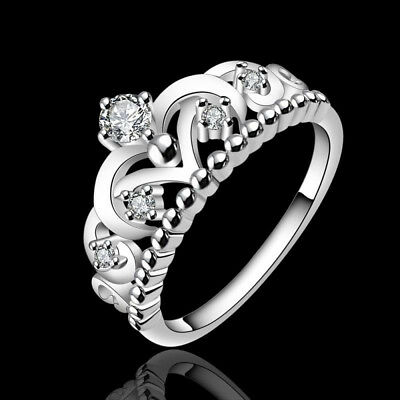 925 Silver Plated Rings Gift Crystal Band Princess Jewelry Crown Ring Sz 7 8