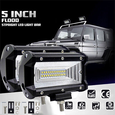 "5"" Inch 72W Flood LED Work Light Bar Boat Truck Offroad SUV Driving Waterproof"