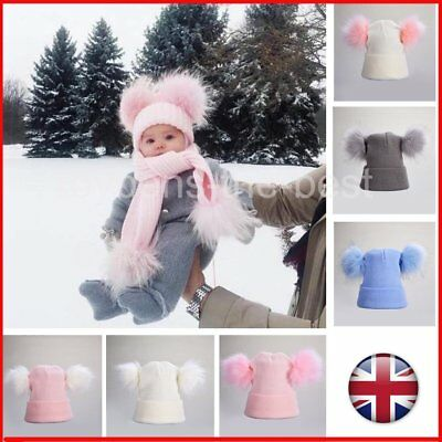 Women Child Baby Boy Girls Winter Warm Double Fur Pom Bobble Knit Beanie Hat Cap