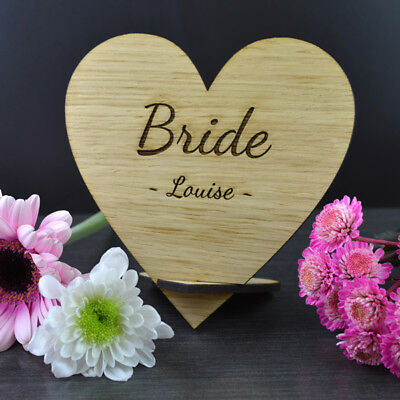 Personalised Wooden Name Hearts – Vintage Wedding Top Table Place Cards Signs