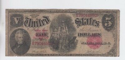Legal Tender $5 1907 Wood chopper vg stains tears pinholes