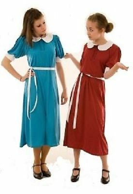 Wartime-Dance-Fancy Dress Girls 1940's Dress, White Detail-2 Colours ALL AGES