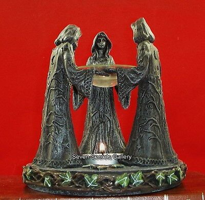 Pagan Wiccan Figures Maiden Mother Crone Incense Oil Burner Witchcraft Circle