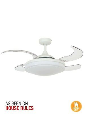 Fanaway Evora 90cm Ceiling Fan with Retractable Blades and Light in White
